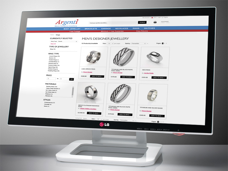 Argenti Ecommerce Web Site Designed by InForm Web Design