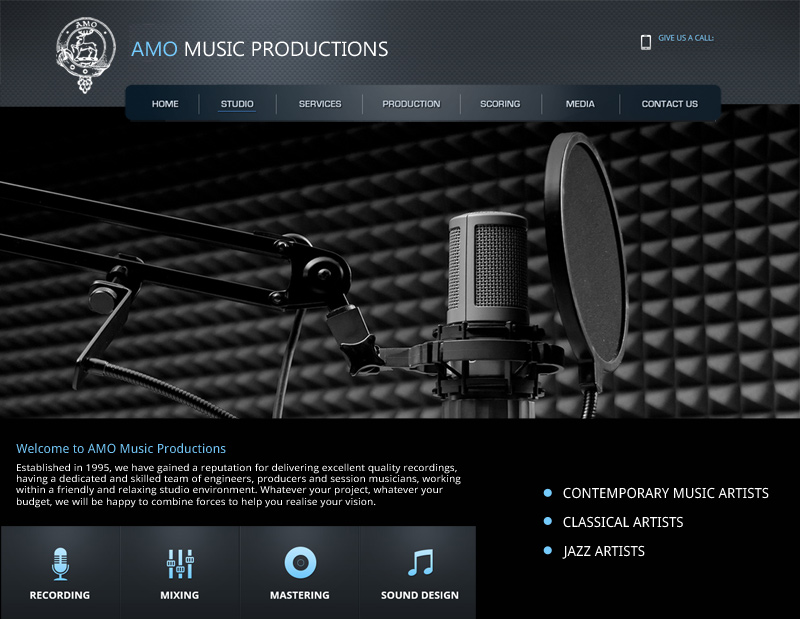 AMO Music Productions Web Site by InForm Web Design
