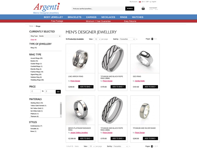 Argenti Ecommerce Website Developed by InForm Web Design