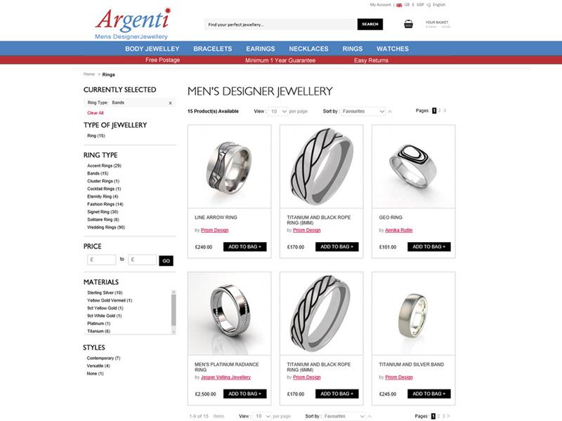 Argenti Ecommerce Website Developed by InForm Web Design