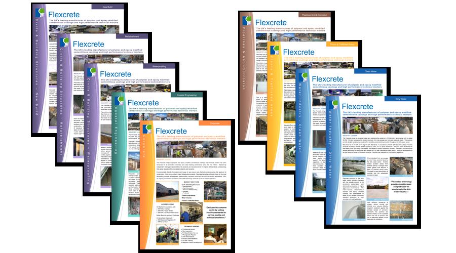 Flexcrete Technologies Limited - Colour coded Market Sector Brochures - InForm Web Design
