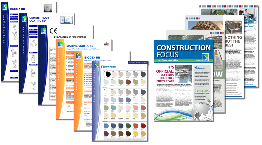 Flexcrete Technologies Limited - Supporting Product Literature continuing the Brand theme and 'Construction Focus' - the E-Newsletter implemented by InForm Web Design
