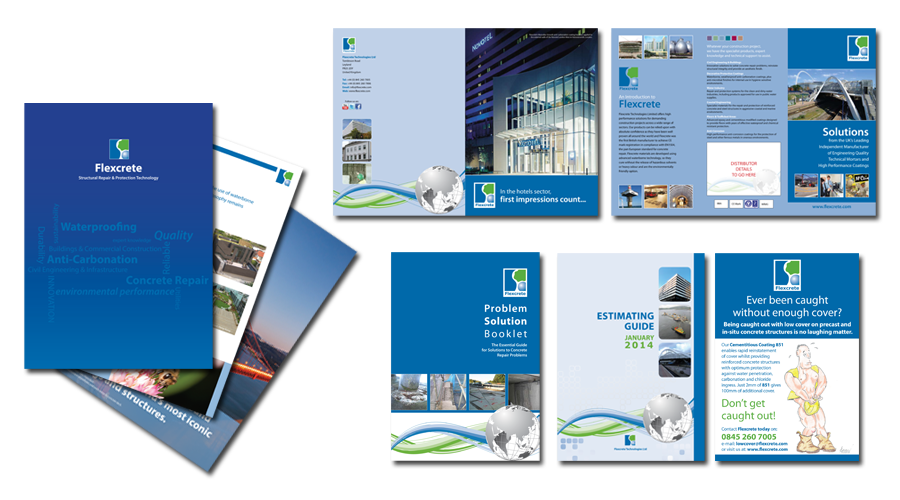 Flexcrete Technologies Limited - Other examples of Corporate Marketing Literature and Press ads with a consistent Brand theme. - InForm Web Design