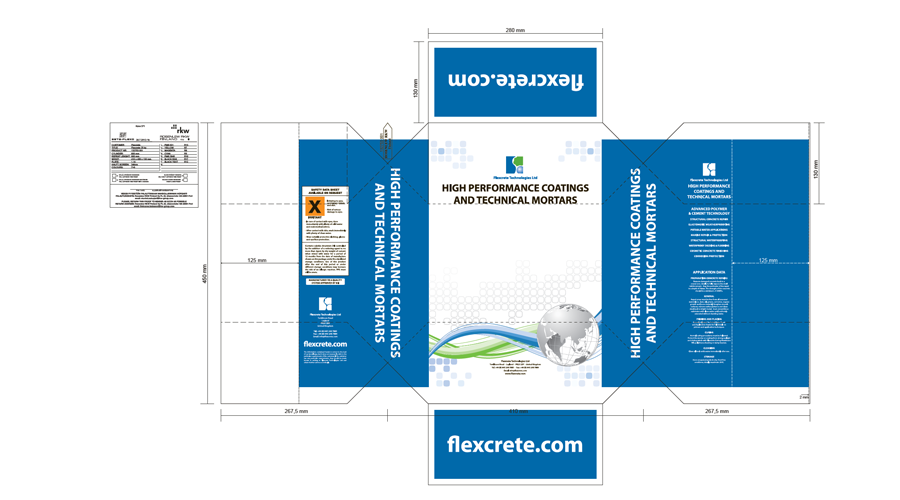 Flexcrete Technologies Limited - Product packaging design work - InForm Web Design