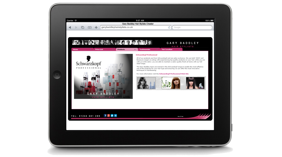 Gary Baddley Hair Stylists Website by InForm Web Design