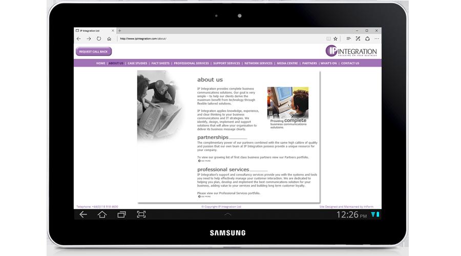 IP Integration Limited Website developed by InForm Web Design