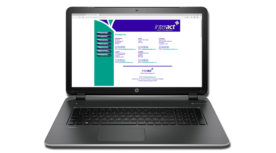 Interact Health Management Limited Website developed by InForm Web Design