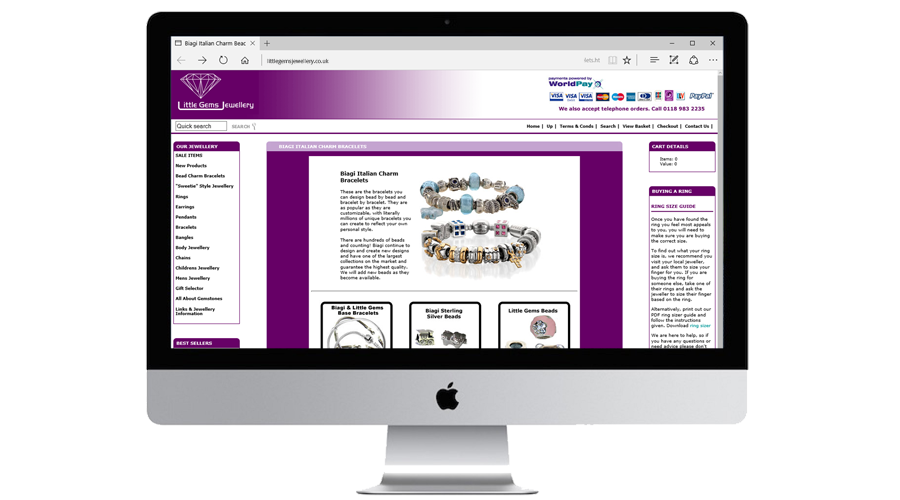 Little Gems Jewellery E-commerce website developed in Actinic by InForm Web Design