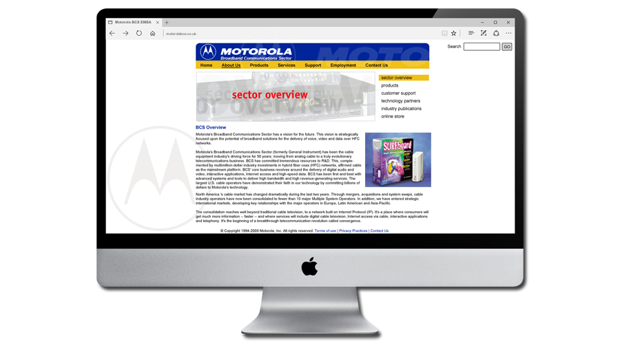 Motorola Broadband Communications Sector EMEA Web Site designed and developed by InForm Web Design