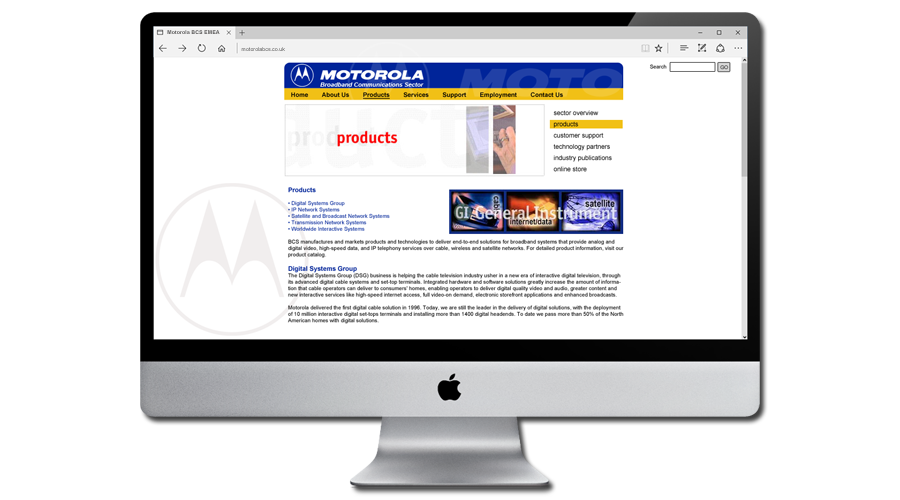 Motorola BCS Europe Website designed and developed by InForm Web Design