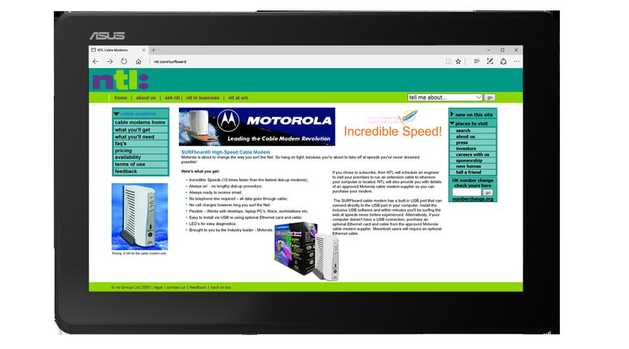 NTL Inc SURFboard microsite developed by InForm Web Design
