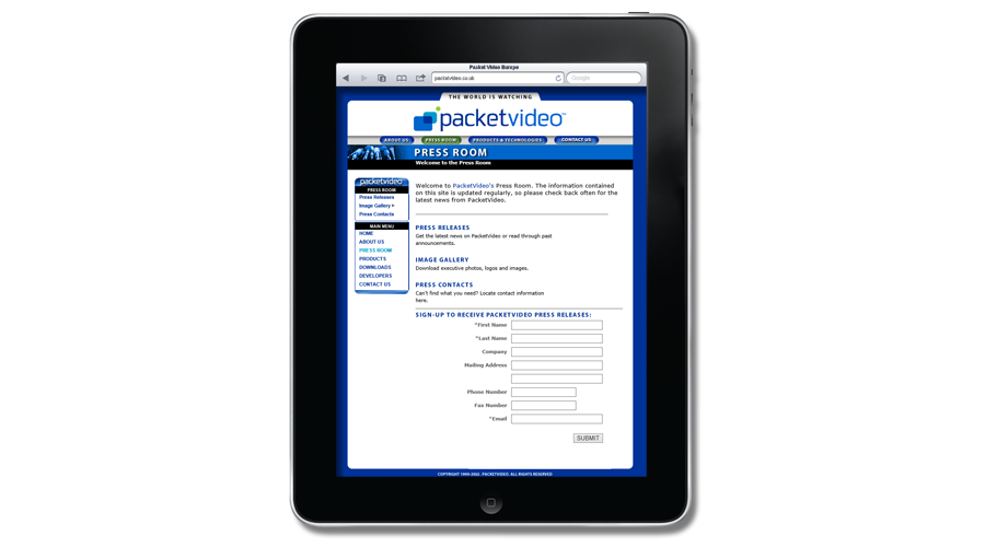 PacketVideo Europe Website developed by InForm Web Design