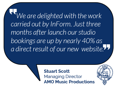 AMO Music Productions Testimonial for InForm Web Design