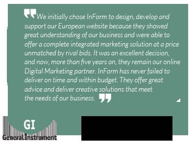 InForm Web Design testimonial by General Instrument Europe